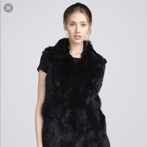 Adrienne Landau Rabbit Fur Vest Black
